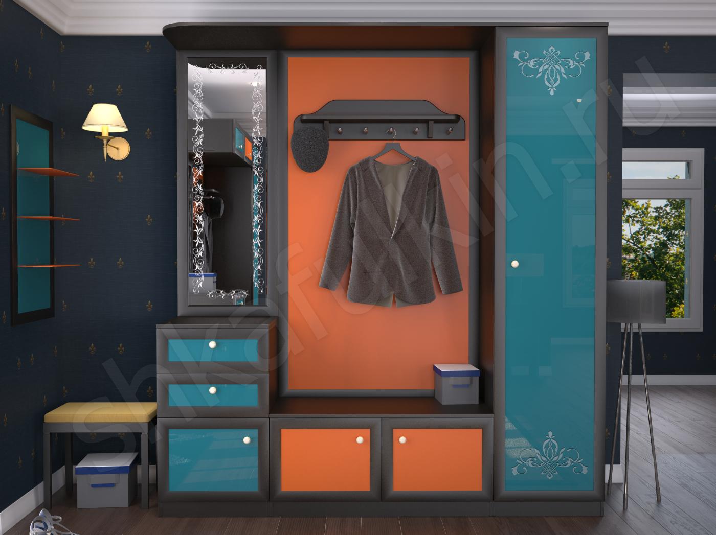 Шкаф в прихожую фантазия сочетание бирюзового и оранжевого ц.